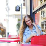 Woman in street cafe Royalty Free Stock Photos