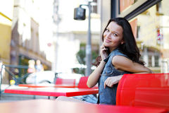 Woman in street cafe Stock Image