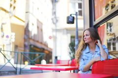 Woman in street cafe Royalty Free Stock Photo