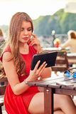 Woman in street cafe Royalty Free Stock Photography