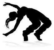 Street Dance Dancer Silhouette. A woman street dance hip hop dancer silhouette stock illustration
