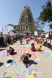 Woman during a street design competition at Hampi Stock Photos