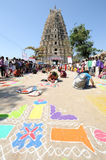 Woman during a street design competition at Hampi Royalty Free Stock Photos