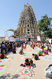Woman during a street design competition at Hampi Royalty Free Stock Images