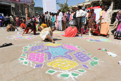 Woman during a street design competition at Hampi Stock Image
