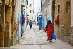 Woman on the street of Essaouira, Morocco Royalty Free Stock Image