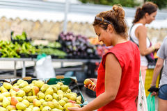 Woman on street fruit market in SPain. Woman on summer street fruit market in SPain stock image