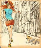 An woman through the street. Hand drawn illustration. Royalty Free Stock Photo