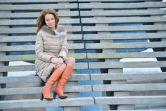 Woman on the street stairs Royalty Free Stock Photos