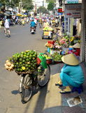 Woman street vendor selling large green fruit in Vietnam Stock Image