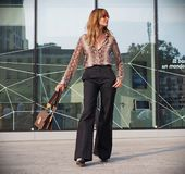 MILAN, Italy: September 19, 2018 Woman streetstyle outfit. Woman streetstyle outfit before ALBERTA FERRETTIi fashion show during milano fashion week fall/winter royalty free stock photography