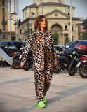 MILAN, Italy: September 19, 2018 Woman streetstyle outfit. Woman streetstyle outfit before ALBERTA FERRETTIi fashion show during milano fashion week fall/winter stock image