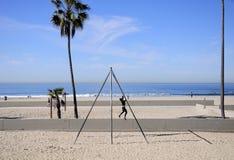 Woman strength training Venice california Royalty Free Stock Photo