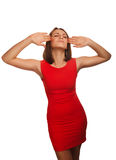 Woman stress headaches put his head red dress Royalty Free Stock Image