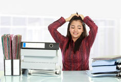 Woman stress in the office Stock Photography