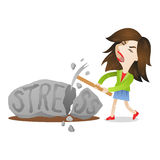 Woman stress rock smashing Stock Photo
