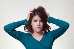 Woman stress. Stress. Woman stressed is going crazy pulling her hair in frustration Royalty Free Stock Photography