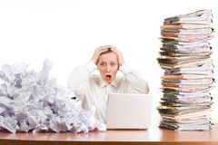 Free Woman Stressed At Work Stock Photography - 13641062