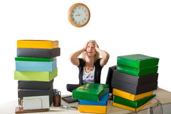 Stressed working woman Royalty Free Stock Photography