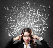 Woman stressed having so many thoughts Royalty Free Stock Photography