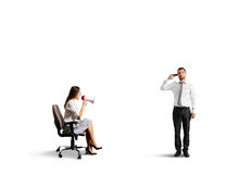 Woman and stressed man with gun Royalty Free Stock Photography