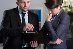 Woman is stressed in the office Stock Photography