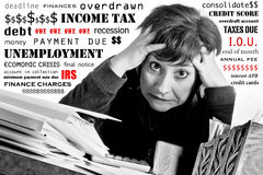 Woman Stressed over Finances. Stressed woman working on household finances and income taxes surrounded by text of her worries Stock Photography
