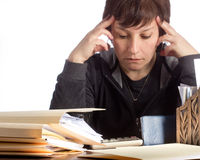 Woman Stressed over Finances Stock Images