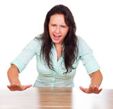 Woman is stressed and screams Stock Image