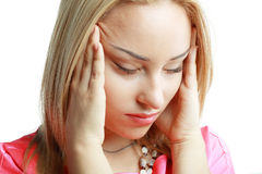 Woman stressed Royalty Free Stock Photo