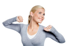 Woman stretches herself Royalty Free Stock Photo