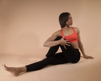 Woman stretching stock photography