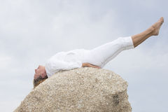 Woman stretching body exercises outdoor Stock Image