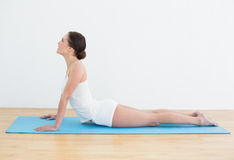 Woman stretching on exercise mat Royalty Free Stock Photography