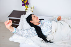 Woman stretching hands in the morning Stock Photography