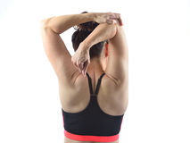 Woman stretching her arm Royalty Free Stock Photo