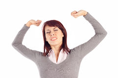 Woman Stretching her Arms Stock Images