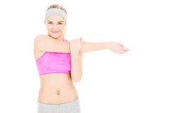 Woman stretching her arms Stock Photos