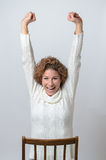 Woman stretching her arms Royalty Free Stock Images