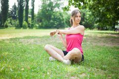 Woman stretching her arms Stock Photography