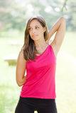 Woman stretching her arms Royalty Free Stock Image