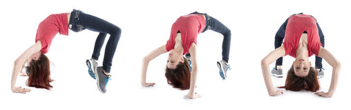 Woman Stretching her Body in Different Directions Royalty Free Stock Images