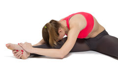 Woman stretching isolated Stock Images