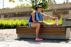 Woman stretching after, before jogging. Stock Photography