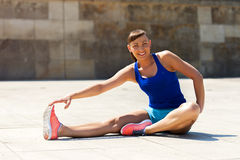 Woman stretching after, before jogging. Stock Images