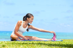 Woman Stretching Legs Exercise Training Fitness Royalty Free Stock Photos
