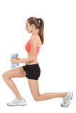 Woman stretching legs after jogging isolated Stock Photography