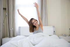 Woman stretching in the morning Royalty Free Stock Image