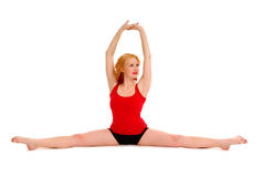 Woman Stretching in Splits Stock Photo