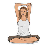 Woman stretching vector Royalty Free Stock Photos